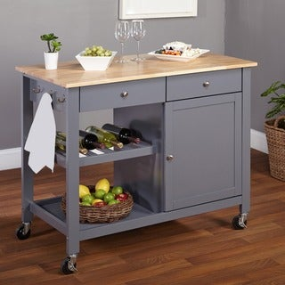 Simple Living Columbus Grey Kitchen Cart with Wood Top