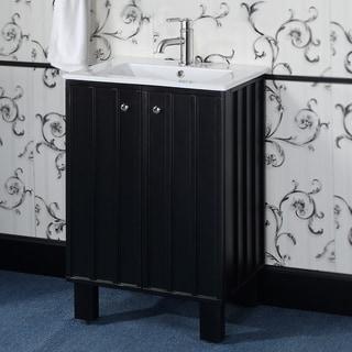 24-inch Single Sink Black Finish Soft-closing Doors Bathroom Vanity