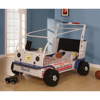 Sashi White and Blue Sheriff Twin Bed