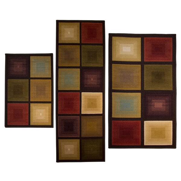 Optic Squares 3 piece Rug Set Overstock