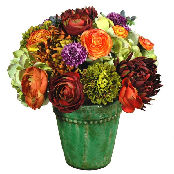 Mums And Ranunculus Centerpiece In 13-inch Ceramic Pot