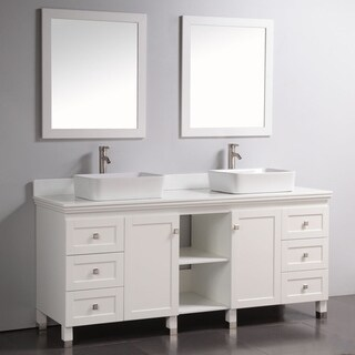 Artificial Stone Top 72-inch Double Sink Bathroom Vanity with Dual Matching Mirrors in White