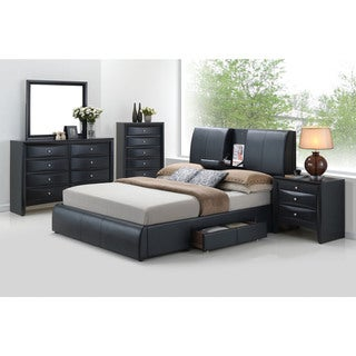Kofi Black PU Bed with Storage