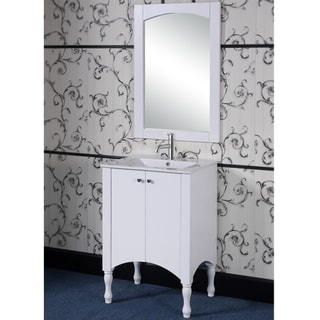 24-inch Contemporary Style White Finish Single Sink Bathroom Vanity and Matching Framed Arched Top Mirror