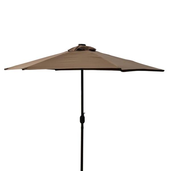 Led Lights For Patio Umbrella : Corvus 9foot Coffee Colored Patio Umbrella with LED Accent Lights