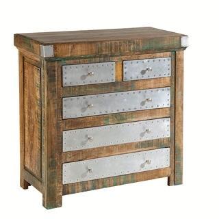 Aluminum Accent 5-drawer Natural Mango Wood Chest