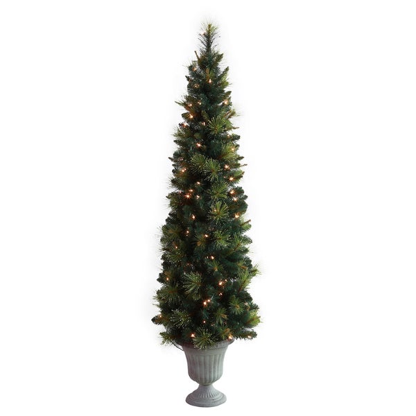 Holiday Slim Tree with Lights in Grey Urn