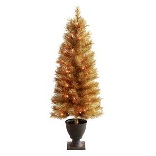 Golden Slim Tree with Lights in Metal Urn