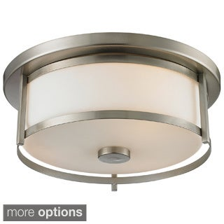 2-light Nickel or Bronze Flush Mount