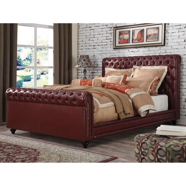 Norris Burgundy PU Upholstered Bed