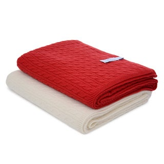 Ultra Luxury 100 Percent Cashmere Cable-Knit Throw