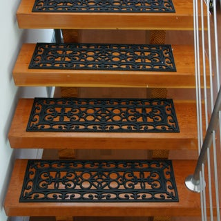 Rubber-Cal 'Regal' Black Stair Tread Rubber Mats (Set of 6)