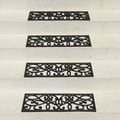 Rubber-Cal 'New Amsterdam' Black Stair Tread Rubber Mats (Set of 6)