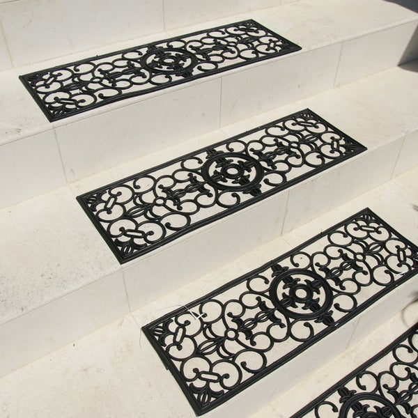 Rubber-Cal 'Grand' Black Stair Tread Rubber Mats (Set of 6)