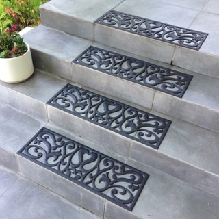 Rubber-Cal 'Flowers' Black Stair Tread Rubber Mats (Set of 6)