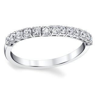 Oliveti 14k White Gold 1/4ct TDW Diamond Conforming Wedding Ring (G-H, SI1-SI2)