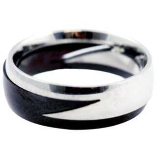 Two-piece Two-tone Lightning Band Stainless Steel Ring