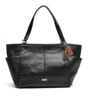 Coach Park Black Pebbled Leather Carrie Tote Handbag