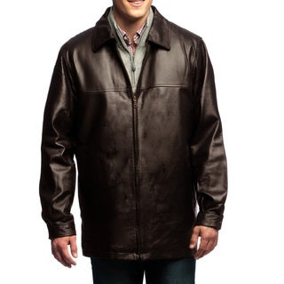 Men's Brown Leather Zip-front Coat with Zip-out Liner
