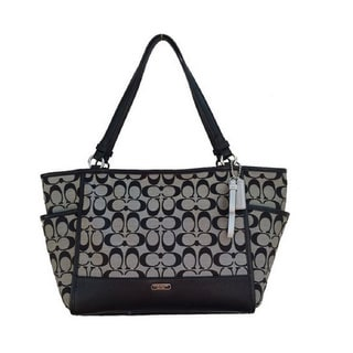 Coach Signature Black/ Silvertone Carrie Tote Handbag