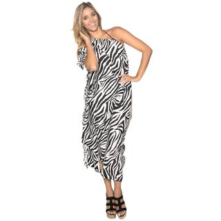 La Leela Likre Animal Skin Printed Swim Beach Sarong Cover up Pareo Wrap Tunic Black
