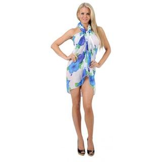 La Leela White and Blue Hibiscus Print Chiffon Sarong