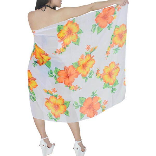 La Leela White and Orange Floral Printed Chiffon Sarong