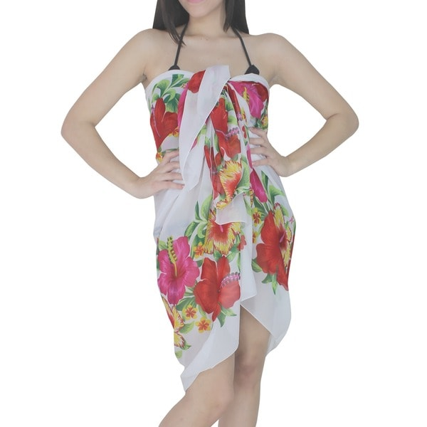 La Leela Floral Bushes. Cover up. Dress. Shawl. Toga.3 in 1 Lightweight Sarong Swimsuit Skirt