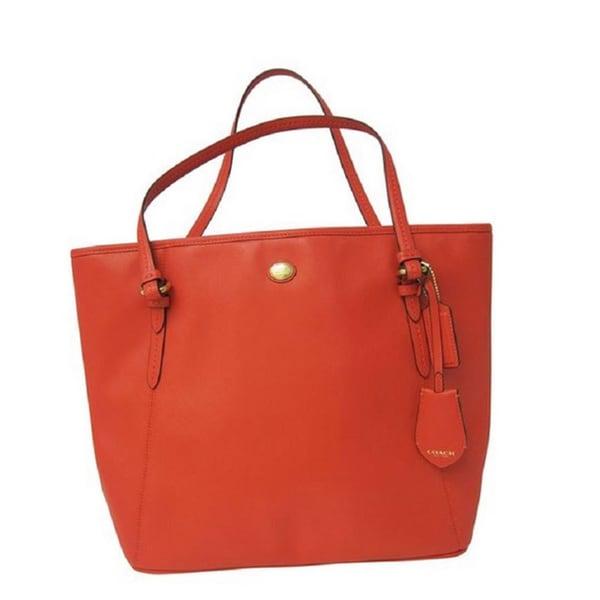 Coach Peyton Red Saffiano Leather Tote Handbag