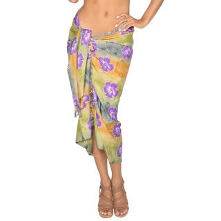 La Leela Hibiscus Floral Printed Wrap Beach Swim Hawaiian Sarong Cover-up