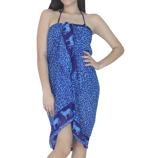 La Leela Blue Leopard Print Chiffon Sarong