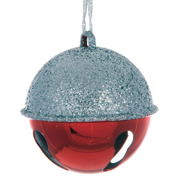 Sage & Co 4.3-inch Red And Glitter Bell Hanging Christmas Ornament (Pack of 24)