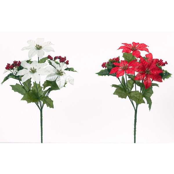 Sage & Co 12-inch Holiday Mix Poinsettia Bush (Assortment of 2/ Pack of 24)