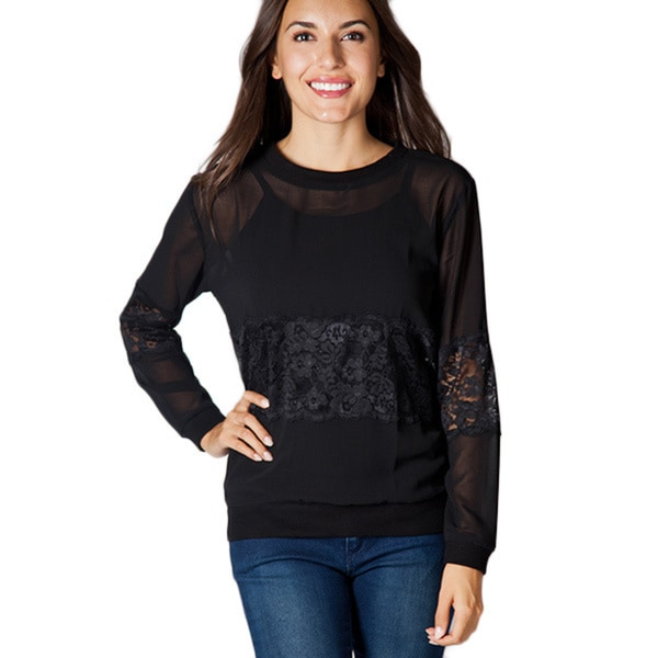 Women's Lace Panel Long-sleeve Top