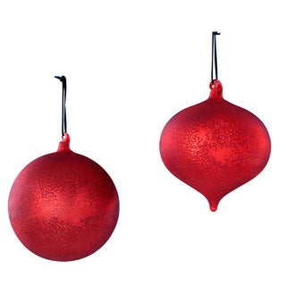 Sage & Co 6-inch Red Mercury Glass Onion Ball Christmas Ornament (Assortment of 2/ Pack of 6)
