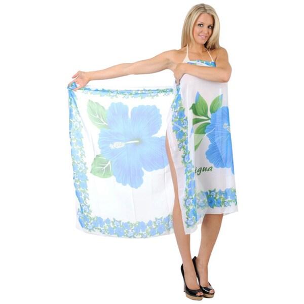La Leela Hibiscus Print Sheer Chiffon Beach Wrap Pareo Sarong