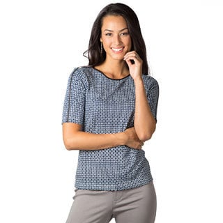 DownEast Basics Women's Boatneck Embelished Top