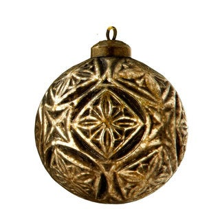 Sage & Co 4-inch Glass Ornate Ball Christmas Ornament (Pack of 4)