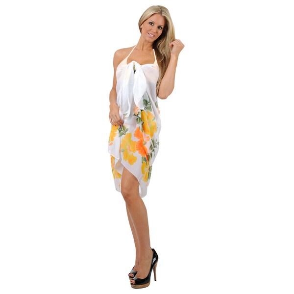 La Leela White Floral Printed Sarong