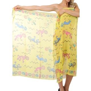 La Leela Yellow Lizard Printed Chiffon Sarong