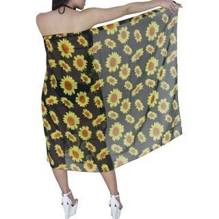 La Leela Women's Sheer Black Floral Print Chiffon Sarong Cover-up