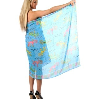 La Leela Women's Sheer Chiffon Lizard Print Sarong Cover-up