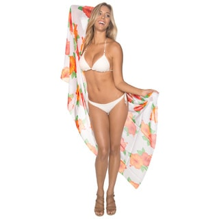 La Leela Women's White Floral Print Chiffon Sarong Cover-up