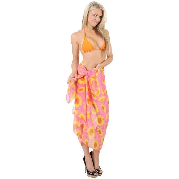 La Leela Pink Sunflower Printed Chiffon Sarong