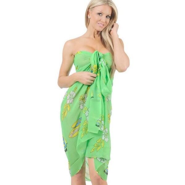 La Leela Light Green Floral Print Chiffon Sarong