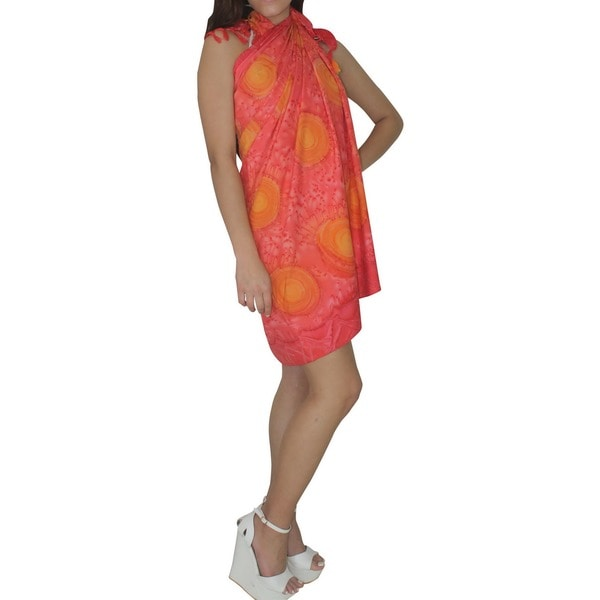 La Leela Red Self Printed Beach Sarong