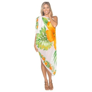 La Leela Women's White/ Orange Hibiscus Sheer Sarong Cover-up