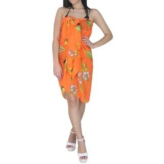 La Leela Women's Orange Floral Sheer Chiffon Sarong Cover-up