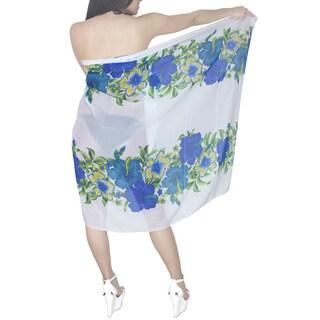 La Leela Women's Blue Hibiscus Floral Chiffon Sarong Cover-up