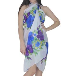 La Leela Women's Blue/ White Hibiscus Flower Chiffon Sarong Cover-up